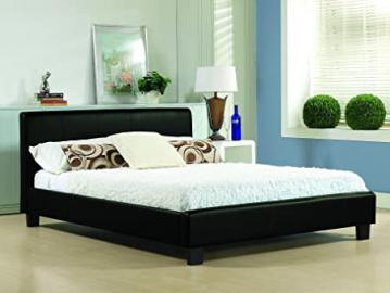 NEW 4ft 6 BLACK MODERN GENUINE REAL LEATHER DOUBLE BED FRAME