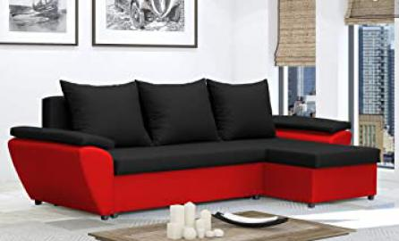 Black and red Corner Sofa Bed - JACOB - couch - bed - beds - many colours 2 man delivery