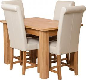 Hermosa Windsor Extendable Dining Table and 4 Washington Chairs with Lacquer Finish, Solid Oak/Leather, Ivory, Small, 120 x 80 x 76 cm
