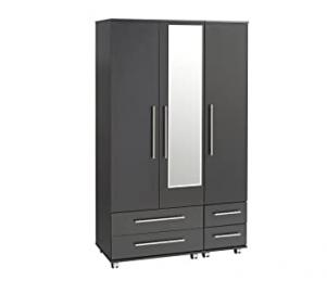 Ideal Furniture 3 Door Plus 4 Drawers and Mirror Wardrobe, Wood, Black