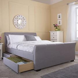 Hf4you Hannover 4 Drawer Fabric Upholstered Bedstead - 5FT KIngsize - Grey - Orthopaedic Sprung Mattress