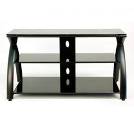 Futura TV Stand - Black and Black Glass