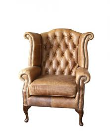 Handmade Chesterfield Queen Anne High Back Wing Chair in Vintage Tan Leather