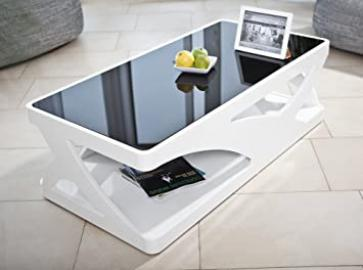 SalesFever Ventura coffee table in glossy white with black glass top