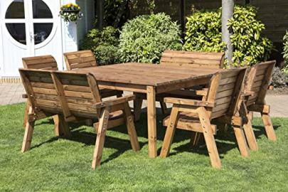 UKG Heavy Duty Wooden Garden 8 Seater Deluxe Dining Set With Square Table - UK Handmade Fully Assembled