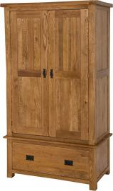 Hermosa Kendal Solid Wardrobe with Lacquer Finish, Oak/Brown, SmallDouble, 110 x 58 x 190 cm