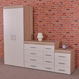 White / Sonoma Oak Bedroom Furniture Set - Wardrobe, 4+4 Drawer Chest & 3 Draw Bedside Table