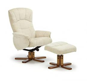Mandal Upholstered Swivel and Recliner Chair with Honey Legs