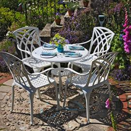 Lazy Susan Furniture - Anna 80 cm Round 4 Seater Cast Aluminium Garden Set - White (April chairs)