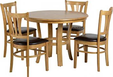 Seconique Grosvenor 40 inch Round Dining Set with 4 Grosvenor Chairs - Natural Oak Veneer/Brown Faux Leather