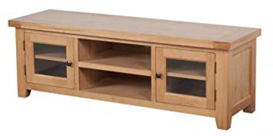 Devonshire Oak 2 Door Large TV Cabinet Solid Oak Fully Assembled