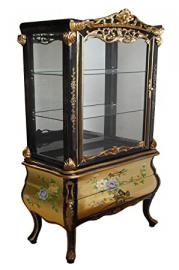 Gold Leaf Display Cabinet with Floral Design, Display Unit, Oriental Chinese & French Furniture Supplier