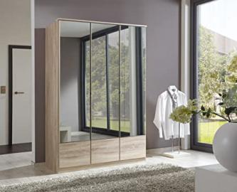 German Imago Light Oak 3 Door Mirror Door Wardrobe