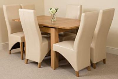 Richmond Small Extending Solid Oak Dining Table and 6 Ivory Leather Chairs 100% Solid Oak | 90cm - 150cm Extending | Fast & Free Delivery