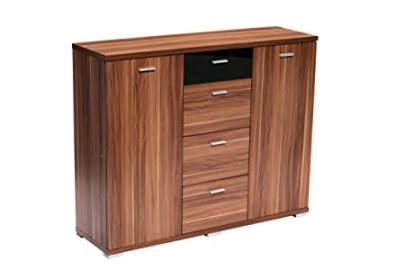Contemporary Fargo Sideboard, Walnut Veneer, Black High Gloss Detail
