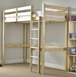 Loft Pine Bunk Bed - Heavy Duty 2ft 6 Small single wooden high sleeper bunkbed - CAN BE USED BY ADULTS