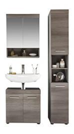 Furnline Bathroom Cabinet Runner Set, Smoky Silver, 3-Piece