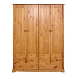 Baltic 4-Door Plus 6-Drawer Wardrobe with Varnish, Antique Pine