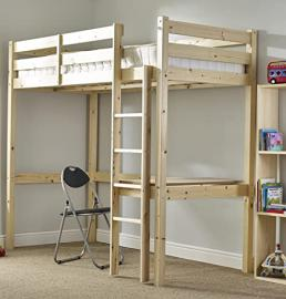 Childrens Pine Bunk Bed - 3ft single work station bunkbed with desk and chair