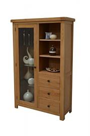 Canton Oak Glass Display Cabinet - Glazed Combination Display Unit - Living Room Furniture - Dining Room Furniture