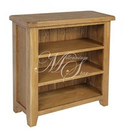 SOLID CHUNKY WOOD RUSTIC OAK SMALL LOW BOOKCASE DISPLAY UNIT