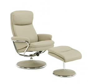 Serene Furnishings - The Recliner Collection - Halden Faux Leather Swivel and  Recliner Chair with Chrome Trims - Taupe