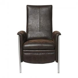 KARE Design Lazy Relax Chair, Leather, Brown, 100 cm