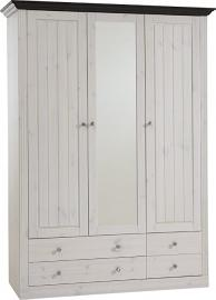 Steens Monaco 2+1 Glazed Door 2+2-Drawer Pine Wardrobe, Whitewash/Dark Stain Finish