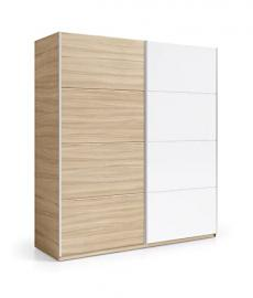 Donelle 180cm Wide 200cm Extra Large Light Oak & White 2 Door Sliding Wardrobe