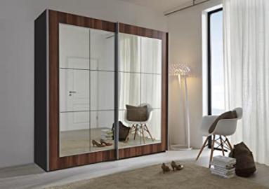 Schlafzimmer Lattice: Walnut Sliding Door Wardrobe with Mirror - 202cm Wide - German Made Bedroom Furniture