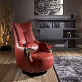Amazing Modern Red Leather/Stainless Swivel Armchair and cushion m-181