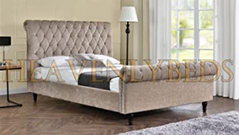 HeavenlyBeds @ Scroll Studded Sleigh Bed Frame Crushed Velvet or Chenille Double King Superking (5'0 King, Mink Chenille)