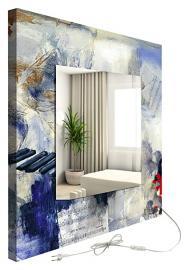 decoralive Piano Abstract Backlit Mirror 60 x 60 cm multicoloured