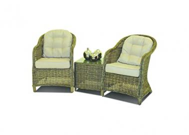 Maze Rattan 3 Piece / 3pc Lounge Set in a Rounded Natural Toned Weave