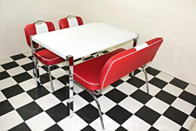 American 50s Diner Furniture Table With 4 chrome Legs with 2 Red chairs and 1 Bench
