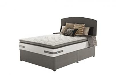 Sealy Lexington Zoned Memory Pillow Top Divan Bed with No Drawers - King, Charcoal