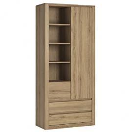 Furniture To Go Hobby 1 Door 3 Drawer Tall Cabinet with Open Shelving, Wood, Oak Melamine