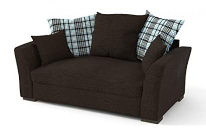Sofabella Polly Cotton Drill Style Fabric 2-Seater Sofa with 5 Scatter Back Cushions, 189 x 99 x 94 cm, Brown/ Blue