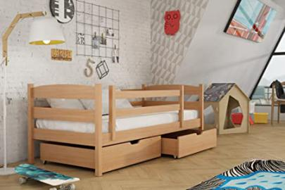 Brand New Wooden Kids Bed with Storage Drawers ZOSKA in Beech with Mattress sold by Arthauss