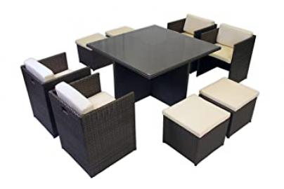Newbury 9 Piece Cube Rattan Garden Set with Beige Cushions