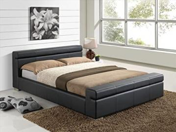 New Black Modern Luxury Italian Style 4ft6 Double Faux Leather Designer Bed Frame