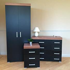 Black Walnut Bedroom Furniture Set - Wardrobe, 4+4 Drawer Chest & 3 Draw Bedside Table