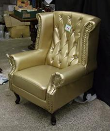 Brand new Chesterfield High Armchair Gold with Crystal Diamanté Bycast Leather!