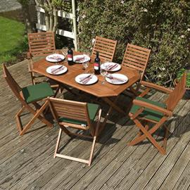 7 Piece Hardwood Eucalyptus Wood Garden Furniture Set 6 Seater Outdoor Patio Dining Table and Chairs with Green Cushions