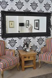 BEAUTIFUL BLACK FRAME ANTIQUE DESIGN ORNATE WALL MIRROR 6ft X 3ft 183cm X 91cm