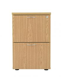 Essentials 2 Drawer Wood Filing Cabinet in Beech, Oak, White or Dark Walnut Finish. Foolscap Filing, Office Storage from the Relax Office Furniture Range (Oak)