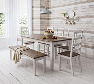 Table and 4 Chairs and Bench Canterbury Dining Table in Contemporary Dark Pine and White