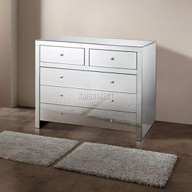 FoxHunter Mirrored Furniture Glass 2 Over 3 Drawer Chest Cabinet Table Bedroom Living Room MC04 Silver