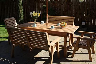 Wooden 6 Seat Patio Set - Solid Wood Outdoor Garden Patio Furniture