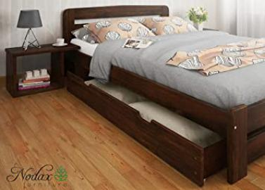 FORMULA RANGE Wooden Pine Double Size Bedframe, Underbed Storage Drawer 150cm, 2xBedside Units (4ft6in, Walnut)